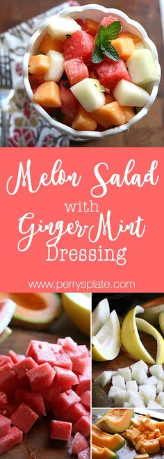 Melon Salad with Ginger-Mint Dressing | paleo recipes | summer salads | melon recipes | per