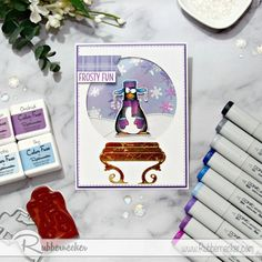 This adorable, quirky penguin is the star of the show in his little snow globe world. Come on over and get the step by step instructions to make this funny homemade winter card and send some frosty snickers to your friends! Orchid Color, Hand Stamped Cards, Winter Cards, Snow Globes, Orchids, Addiction, Stamps, Lisa, Fun