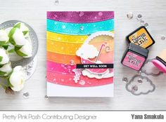 Pretty Pink Posh: Die Cut Rainbow Background