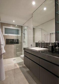 Banheiros e Lavabos com Bancadas Pretas! Inspire-se!