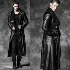 Designer Men Black Gothic Fashion Long Overcoats Trench Coats Clothes SKU-11401494