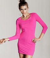 bright long-sleeve fitted dress