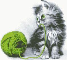 Cross Stitch Pattern ''Playing Cat'' PDF от CFC14 на Etsy