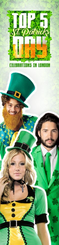 What will you be doing on March If you're in London and looking for a St Patrick's day party, we have 5 events for you! Top Five, St Patricks Day, London, Celebrities, Party, Movie Posters, Movies, Tops, Celebs