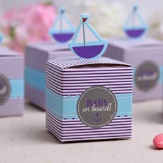 Nautcial Favor Boxes; Baby of Board Favor; Unisex Nautical shower; Ahoy Matey theme; Under the Sea Theme; Sailboat Favor Boxes; Table decor by SimplyCreatedForYou6 on Etsy