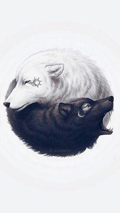 62 ideas for wall paper kpop exo fanart Wolf Wallpaper, Animal Wallpaper, Cool Wallpapers Wolf, Ying Yang Wallpaper, Exo Lucky One, Ying Y Yang, Yin Yang Wolf, Yin Yang Art, Exo Monster