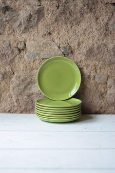 Set of 8 Mid Century Vintage French Green Porcelain Side Plates - Longchamp by FarmGateVintage on Etsy