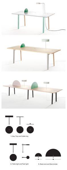 Tomas Alonso Offset customizable, flexible desk table. simple design \ pop colours. Click the image to view this unique office solution!