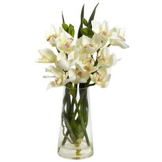 Nearly Natural Cymbidium Orchid in  Vase