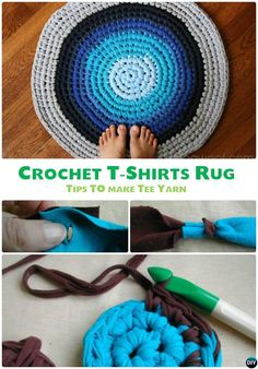 DIY Crochet T-shirt Rug Free Pattern-10 Handmade Crochet Area Rug Ideas