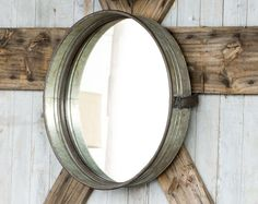 This industrial metal drum style mirror will be a great addition for any rustic farmhouse decor hang on the wall or use as a tray size: x x Farmhouse Mirrors, Rustic Farmhouse Decor, Farmhouse Chic, Metal Drum, Metal Mirror, Industrial Mirrors, Rustic Industrial, Home Decor Styles, Home Decor Items