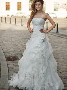 Vintage A-line Strapless Sweep / Brush Train Wedding Dresses