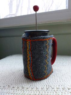 Embroidered Wool Gray French Press Cozy by MistySparkles on Etsy, $25.00