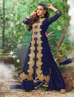 http://www.istyle99.com/Salwar-Suit/THANKAR-NAVY-CHIFFON-STRAIGHT-SUIT-5981.html NAVY CHIFFON STRAIGHT SUIT - Rs 1174 Suit Type: Straight Suit Top Colour: NAVY BLUE Bottom Colour: NAVY BLUE Dupatta Colour: NAVY BLUE Top Fabric: PURE CHIFFON Bottom Fabric: SANTOON Dupatta Fabric: NAZNEEN Inner:SANTOON TOP Size: 2.5 Mtr Bottom Size: 2 Mtr Style Type: Straight Suit