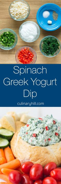 This lightened up Spinach Greek Yogurt Dip is ready in 10 minutes and full of fresh flavors! Serve with veggies for a naturally gluten free snack anytime. Greek Yogurt Dips, Greek Yogurt Recipes, Siggis Yogurt, Yogurt Popsicles, Yogurt Smoothies, Yogurt Parfait, Vegetarian Recipes, Cooking Recipes, Healthy Recipes