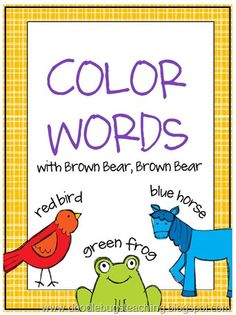 brown bear color word spelling cards (free) by Penny Mac Kindergarten Colors, Preschool Colors, Teaching Colors, Kindergarten Literacy, Reading Activities, Teaching Reading, Preschool Activities, Teaching First Grade, Classroom Fun