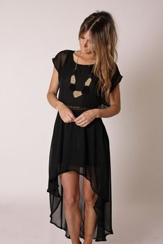 black high low hem dress