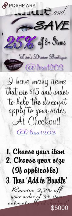 🌹BUNDLE & SAVE $$🌹 🆒!! Save 25% off 3 or more Items in my closet everyday!!🌷I have MANY items New and Pre-loved that are $15 and under to help the discount apply automatically at checkout🌷**Note**Please do not submit an Offer for 3 or more Items unless we have previously discussed specifics about your order**Remember Posh takes 20% from every sale **🌷Thank you in advance for browsing my closet and never hesitate to reach out to me with any questions you might have!!💗Happy…