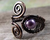 Purple glass copper ring, $19