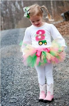 PERSONALIZED John Deere Girl Tractor Birthday Tutu Outfit - Pink and Green