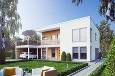 Ett kubiskt stilsäkert hus med en fantastisk takterrass belägen över en carport/förrådsdel. Den strama utformningen och husets tydliga symmetrier i fönster, fasadbeklädnad och detaljer skapar ett hus i fullständig balans. Den liggande träpanelen blir ett dynamiskt inslag i fasaden och skapar ett vackert och naturligt blickfång i de stora vita ytorna.