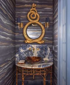 kristin paton powder room Fromental wallpaper serpent mirror circa lighting Vivian Sconce faux bamboo vanity