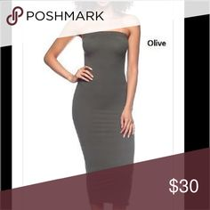 Olive Tube Midi Dress New olive toned tube midi dress with the perfect amount of stretchy to show off those curves. Dresses Midi