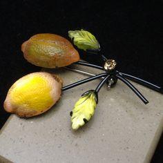Fruit Pin Vintage Austria Brooch Lemons