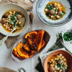 Cold days remedy. A bowl of  giant @nyshuk couscous soup with lamb meatballs and harissa. Roasted butternut squash. I think we can survive the cold. Pic by @christineshoots ceramics by @shinotakeda