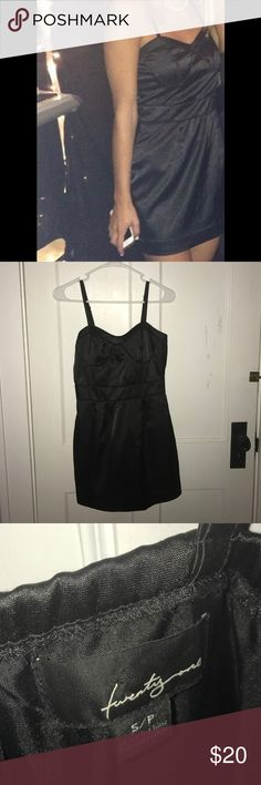 Black Forever 21 Cocktail Dress Size Small Black forever 21 cocktail dress size small. Satin like material. Only worn once for my sorority recruitment! Bustier style top, super cute on. Adjustable straps. Forever 21 Dresses