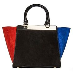Alice and Olivia Colorblock Suede Tote
