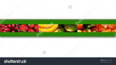 One row of six #rectangles full of #fruity #textures: #berries, #bananas and #citrus #fruits, all placed on a green #ribbon with shadow