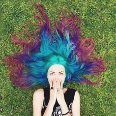 Peacock colored hair