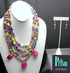 Festive Freshwater Pearl Necklace Set by PrismBouquets on Etsy, $40.00