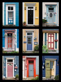 St John's, Nfld, doors mosaic by suellen1111_s, via Flickr