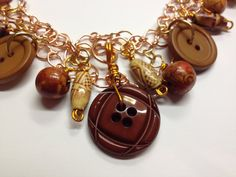 Copper & Vintage Button Necklace by BornAgainButtons on Etsy, $25.00