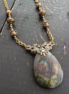 Labradorite Pendant Necklace, Flash Labradorite Necklace, Gemstone Pendant Necklace, Labradorite Jewelry, Natural Stone Artisan Necklace by KarenTylerDesigns on Etsy