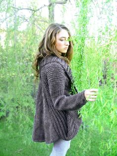hand knit cardigan MIA with pockets draped back high by ovejanegra
