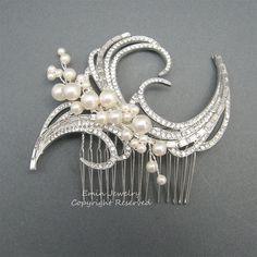 Ivory Pearl Rhinestone Crystal Wedding Fascinator Clip
