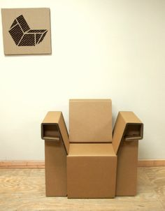 The Chairigami armchair is a great cardboard chair for dorms, breakrooms, trade shows & more. Order cardboard furniture today at Chairigami. Cardboard Chair, Diy Cardboard Furniture, Cardboard Cartons, Cardboard Design, Paper Furniture, Cardboard Toys, Kids Furniture, Furniture Making, Furniture Design