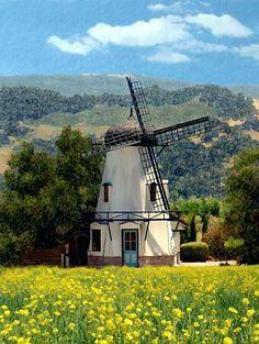Windmill at Mission Meadows, Solvang, Santa Barbara, California by Kurt Van Wagner