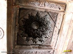 Intricate ceiling carvings and design inside Keshava Temple, Somanathapura, Mysore district, Karnataka, India
