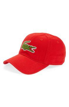 b6e63e4e921 LACOSTE  BIG CROC  LOGO EMBROIDERED CAP - RED.  lacoste. ModeSens Men
