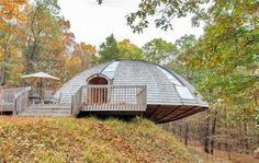 Prefab wooden dome home spins like a UFO to let sunlight in fr...