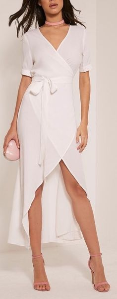 White wrap maxi dress. I can't get over it omg