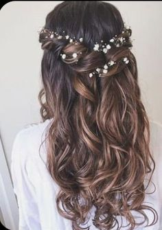 Wedding Hair Down, Wedding Hairstyles For Long Hair, Wedding Hair And Makeup, Down Hairstyles, Easy Hairstyles, Wedding Braids, Hair For Bride, Hairstyle Ideas, Hair For Prom