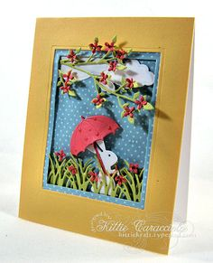KC Impression Obsession Umbrella 1 right/Kittie Caracciolo Easter Religious, Memory Box Dies, Spring Shower, Impression Obsession, Scrapbook Cards, Scrapbooking, Animal Cards, Easter Crafts, Cool Gifts