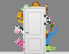 Jungle Safari Elephant singe girafe animaux Decal furtivement porte Hugger Nursery Wall Decal