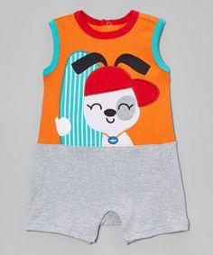 Another great find on #zulily! Heather Gray & Mandarin Orange Surfer Dog Romper - Infant #zulilyfinds