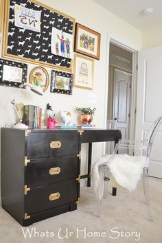 Glam girls room -Craigslist Campaign desk refinished in Black, Gallery wall,  & Ghost chair